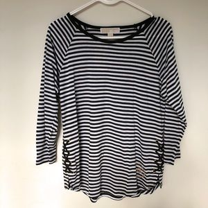 Michael Kors Olive Green & White Striped Top Sz S
